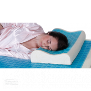 MemoGel Contour Pillow women sleeping on her side on cooling gel pillow and mattresss topper