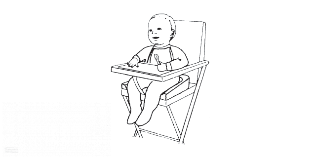 BottomsUp Seat Cushion illustration of baby in baby seat using cushion